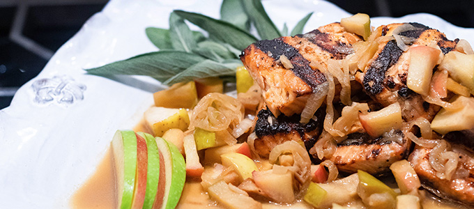 Pan Roasted Salmon with Apple, Onion & Sage