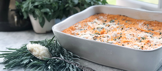 Baked Mashed Potatoes & Yams with Parmesan, Rosemary & Garlic