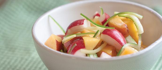 Radish, Cucumber & Peach Salad